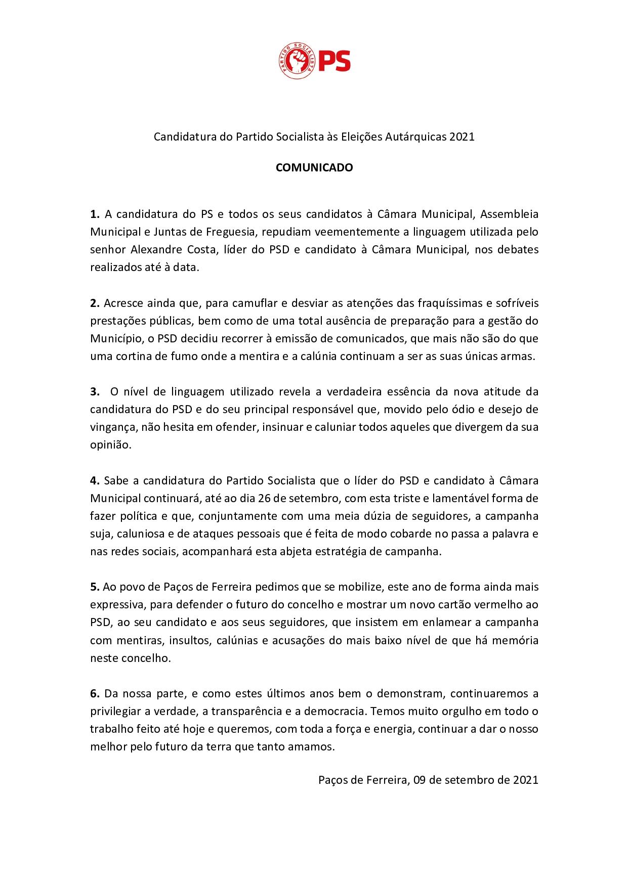 PS lança comunicado de repúdio à linguagem utilizada pelo candidato do PSD à Câmara nos debates realizados